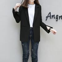 2018春季新款韩版休闲西服女士中长款长袖宽松百搭小西装女外套潮 黑色