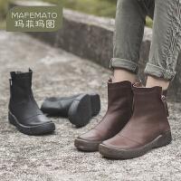 玛菲玛图2019秋冬新款女靴复古英伦风真皮马丁靴百搭侧拉链短靴9225-5R
