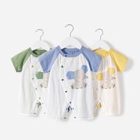 舒贝怡 儿童连体衣夏季宝宝短袖爬服纯棉婴儿偏开哈衣全棉衣服空调服