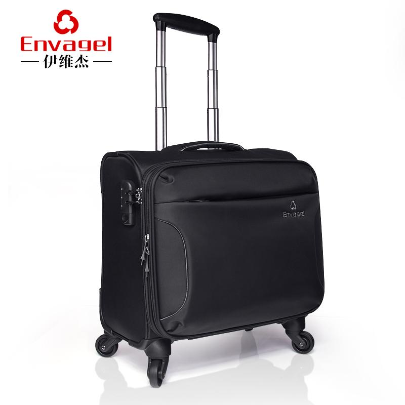 伊维杰(Envagel)拉杆箱C9908 男商务拉杆箱包行李箱万向轮登机旅行箱 黑色 16寸