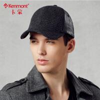 kenmont男士冬季帽子皮质棒球帽 男 韩版潮 鸭舌帽英伦毛呢贝雷帽2255