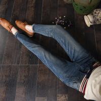 秋季松紧腰橡筋系带有弹性牛仔裤女土常规学生小脚萝卜长牛子裤潮