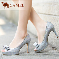 CAMEL 骆驼 春季新品 浅口鱼嘴 高跟单鞋子 蝴蝶结舒适女单鞋A92136618
