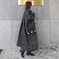 秋冬新款毛呢外套女过膝长款韩版人字纹加厚宽松大码茧型呢子大衣A19