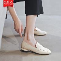 【活动中】小红人乐福鞋女2019夏款一脚蹬英伦风小皮鞋子学生方头单鞋女粗跟 PU