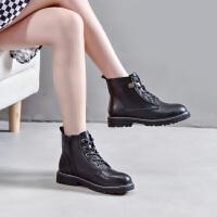 珂卡芙2019新款冬靴低跟舒适粗跟【商场同款】马丁靴高帮女靴