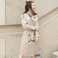 韩版风衣女卡其色中长款修身显瘦百搭双排扣气质简约外搭女装外套 卡其色