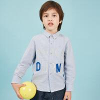 【1件4折后到手价:147.6元】马拉丁童装男童长袖衬衫春装2019新款字母胶印蓝白条纹儿童衬衫
