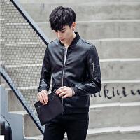 港风青年男士皮衣短款韩版个性机车皮夹克潮流春秋季休闲外套