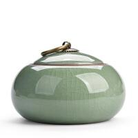 紫砂茶�~罐陶瓷罐小存茶罐�b茶�~盒茶�~包�b盒哥�G茶具密封罐茶盒