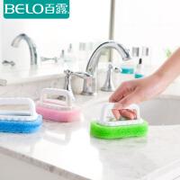 百露厨房多用刷强力去污带手柄海绵刷浴室浴缸瓷砖颜色随机