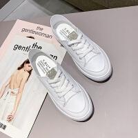 两穿百搭鞋2019秋季小白鞋女低帮休闲鞋水钻鞋平底软底女鞋