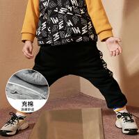 【每满150减50】迷你巴拉巴拉男童长裤2018冬新款韩版儿童裤子加绒保暖运动休闲裤