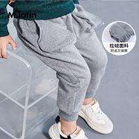 【3件7折价:69.3元】马拉丁童装男小童加绒裤子冬装新款立体口袋设计儿童针织裤子