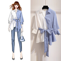 安妮纯衬衣女2020春装新款韩版很仙的心机上衣设计感拼接撞色条纹衬衫女