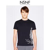 NSNF纯棉手绘素描图案黑色圆领T恤男修身 短袖t恤男装2017新款 修身圆领针织短袖