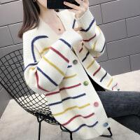 孕妇装长袖秋装毛衣外套短款韩版宽松彩虹条针织衫