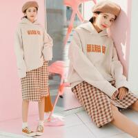 长袖套头卫衣女2018春装新款 韩版宽松刺绣字母学生加绒加厚上衣 均码