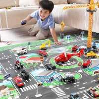 仿真合金小汽�套�b玩具工程�和�男孩交通工具停��龀鞘心P偷踯�