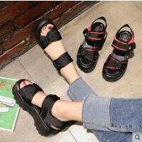 松糕凉鞋女百搭仙女鞋新款韩版一字扣带摇摇鞋学生休闲罗马鞋子