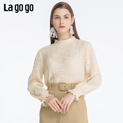 Lagogo2019秋季新款亮丝淑女立领长袖雪纺衫套头上衣女ICSS578C01